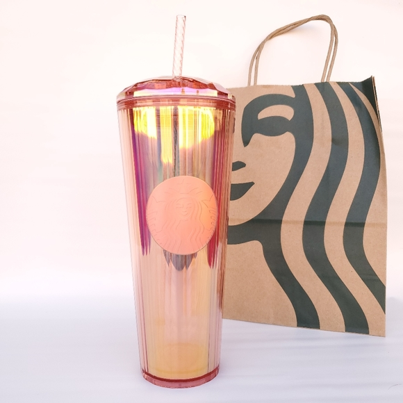 Starbucks Rose Gold Rainbow Iridescent Tumbler